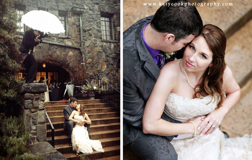 Katy Cook - Scaling a wall to get the perfect rainy wedding shot!