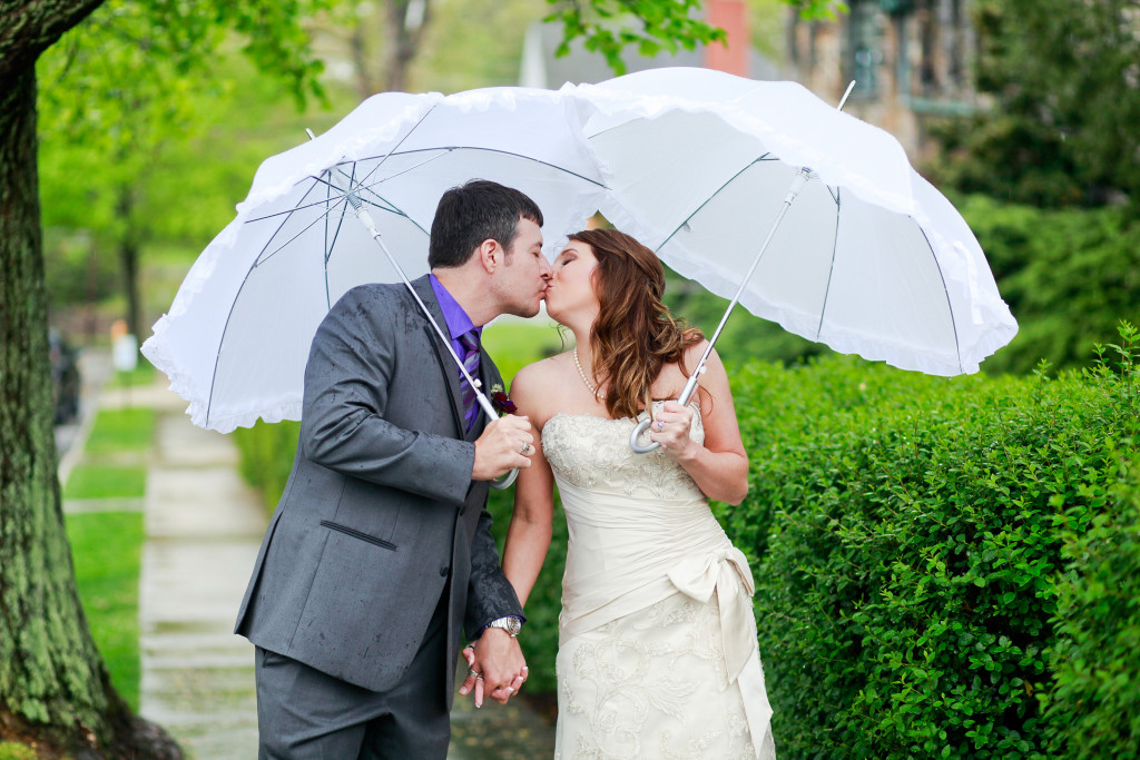 I brought clear umbrellas - Katy brought these romantic white ones!