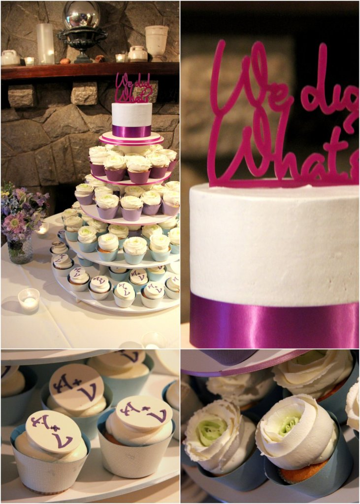 Purple and Blue Wedding Ombre Cupcakes